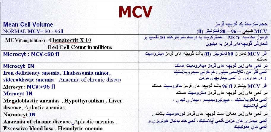 نتیجه آزمایش خون MCV